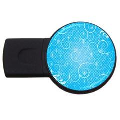 Leaf Blue Snow Circle Polka Star USB Flash Drive Round (1 GB)