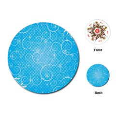 Leaf Blue Snow Circle Polka Star Playing Cards (Round)