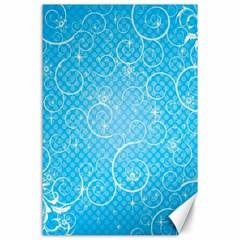 Leaf Blue Snow Circle Polka Star Canvas 24  x 36