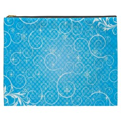 Leaf Blue Snow Circle Polka Star Cosmetic Bag (XXXL)