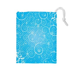 Leaf Blue Snow Circle Polka Star Drawstring Pouches (Large)