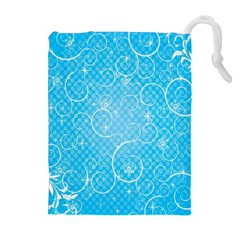 Leaf Blue Snow Circle Polka Star Drawstring Pouches (Extra Large)