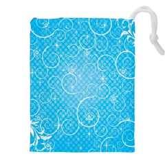 Leaf Blue Snow Circle Polka Star Drawstring Pouches (XXL)