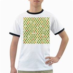 Merry Christmas Polka Dot Circle Snow Tree Green Orange Red Gray Ringer T-Shirts