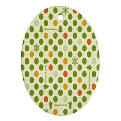 Merry Christmas Polka Dot Circle Snow Tree Green Orange Red Gray Oval Ornament (Two Sides)