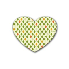Merry Christmas Polka Dot Circle Snow Tree Green Orange Red Gray Rubber Coaster (Heart)