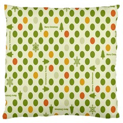 Merry Christmas Polka Dot Circle Snow Tree Green Orange Red Gray Large Cushion Case (One Side)