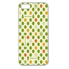 Merry Christmas Polka Dot Circle Snow Tree Green Orange Red Gray Apple Seamless iPhone 5 Case (Clear)