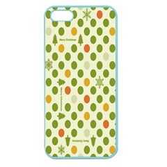 Merry Christmas Polka Dot Circle Snow Tree Green Orange Red Gray Apple Seamless iPhone 5 Case (Color)