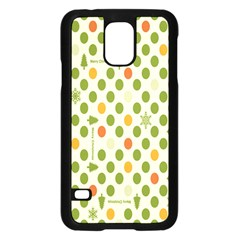 Merry Christmas Polka Dot Circle Snow Tree Green Orange Red Gray Samsung Galaxy S5 Case (Black)