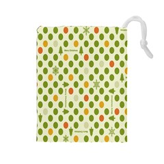 Merry Christmas Polka Dot Circle Snow Tree Green Orange Red Gray Drawstring Pouches (Large)