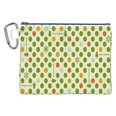 Merry Christmas Polka Dot Circle Snow Tree Green Orange Red Gray Canvas Cosmetic Bag (XXL)