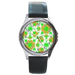 Graphic Floral Seamless Pattern Mosaic Round Metal Watch