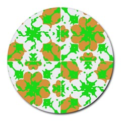 Graphic Floral Seamless Pattern Mosaic Round Mousepads
