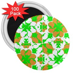 Graphic Floral Seamless Pattern Mosaic 3  Magnets (100 pack)
