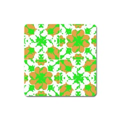 Graphic Floral Seamless Pattern Mosaic Square Magnet