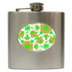 Graphic Floral Seamless Pattern Mosaic Hip Flask (6 oz)