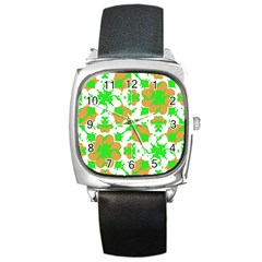 Graphic Floral Seamless Pattern Mosaic Square Metal Watch