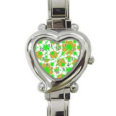 Graphic Floral Seamless Pattern Mosaic Heart Italian Charm Watch