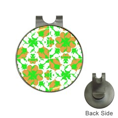 Graphic Floral Seamless Pattern Mosaic Hat Clips with Golf Markers