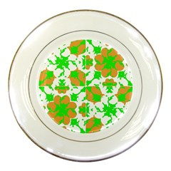 Graphic Floral Seamless Pattern Mosaic Porcelain Plates