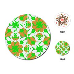 Graphic Floral Seamless Pattern Mosaic Playing Cards (Round)