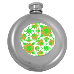 Graphic Floral Seamless Pattern Mosaic Round Hip Flask (5 oz)