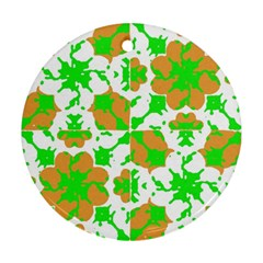 Graphic Floral Seamless Pattern Mosaic Round Ornament (Two Sides)