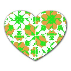 Graphic Floral Seamless Pattern Mosaic Heart Mousepads