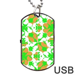Graphic Floral Seamless Pattern Mosaic Dog Tag USB Flash (Two Sides)