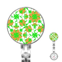 Graphic Floral Seamless Pattern Mosaic Stainless Steel Nurses Watch