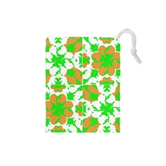 Graphic Floral Seamless Pattern Mosaic Drawstring Pouches (Small)