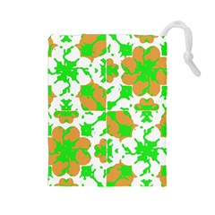 Graphic Floral Seamless Pattern Mosaic Drawstring Pouches (Large)