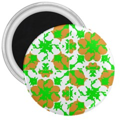 Graphic Floral Seamless Pattern Mosaic 3  Magnets