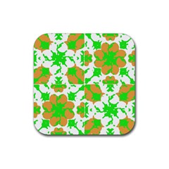Graphic Floral Seamless Pattern Mosaic Rubber Square Coaster (4 pack)