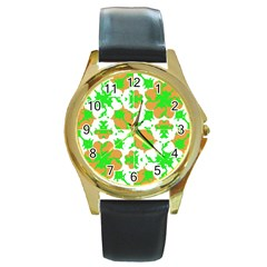 Graphic Floral Seamless Pattern Mosaic Round Gold Metal Watch