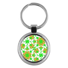 Graphic Floral Seamless Pattern Mosaic Key Chains (Round)