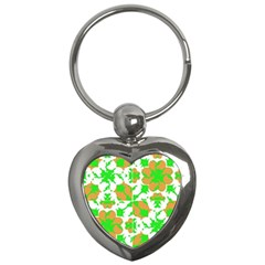 Graphic Floral Seamless Pattern Mosaic Key Chains (Heart)