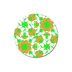 Graphic Floral Seamless Pattern Mosaic Magnet 3  (Round)