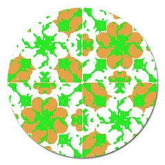 Graphic Floral Seamless Pattern Mosaic Magnet 5  (Round)