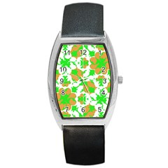 Graphic Floral Seamless Pattern Mosaic Barrel Style Metal Watch