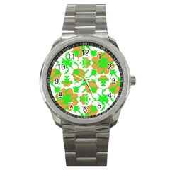 Graphic Floral Seamless Pattern Mosaic Sport Metal Watch