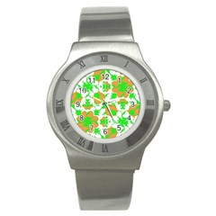 Graphic Floral Seamless Pattern Mosaic Stainless Steel Watch