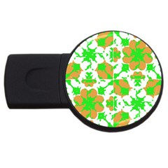 Graphic Floral Seamless Pattern Mosaic USB Flash Drive Round (4 GB)