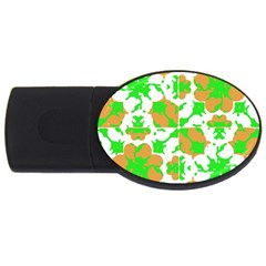Graphic Floral Seamless Pattern Mosaic USB Flash Drive Oval (4 GB)