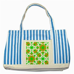 Graphic Floral Seamless Pattern Mosaic Striped Blue Tote Bag
