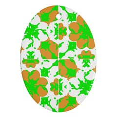 Graphic Floral Seamless Pattern Mosaic Oval Ornament (Two Sides)