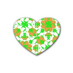 Graphic Floral Seamless Pattern Mosaic Rubber Coaster (Heart)