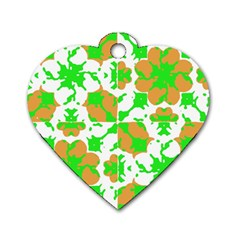 Graphic Floral Seamless Pattern Mosaic Dog Tag Heart (One Side)