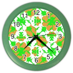 Graphic Floral Seamless Pattern Mosaic Color Wall Clocks